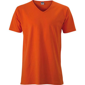 orange-fonce - t shirts publicitaires col v