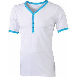 blanc-turquoise - tshirts personnalisable homme
